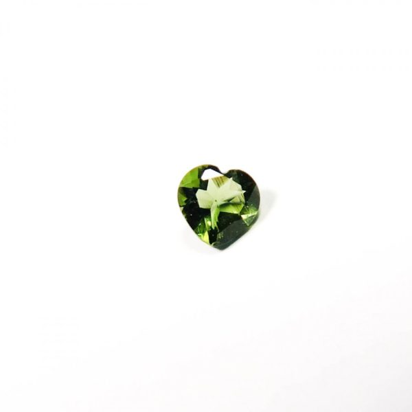 Faceted Shape Heart Cut Moldavite With Certificate Of Authenticity (0.127grams) 1