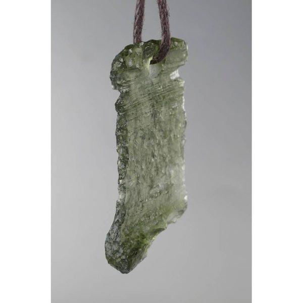 Genuine Fine Shape Natural Drilled Moldavite Necklace (1.6grams) 2