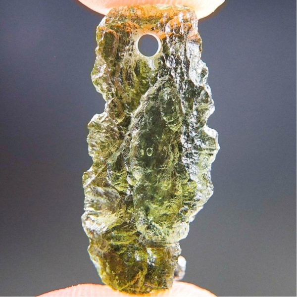 Quality A+ Shiny Drilled Moldavite Pendant With Certificate Of Authenticity (1.91grams) 1