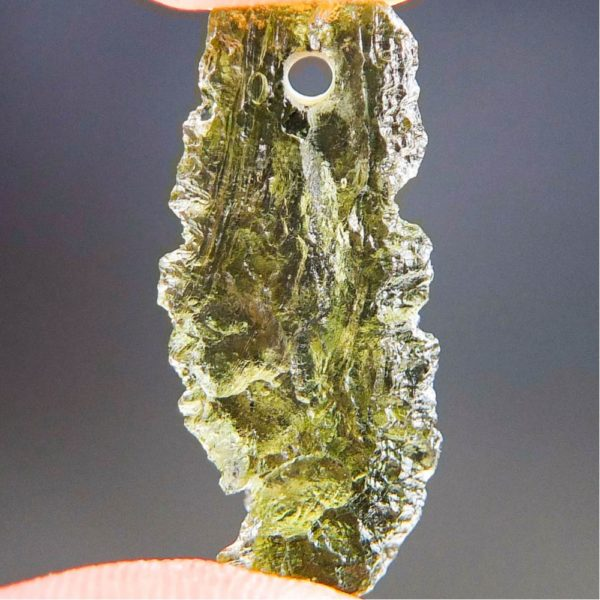 Quality A+ Shiny Drilled Moldavite Pendant With Certificate Of Authenticity (1.91grams) 4
