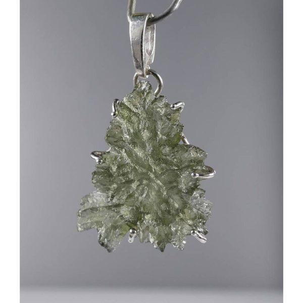 Rare Elegant Shape Besednice Moldavite In Sterling Silver Pendant (1.6grams) 1