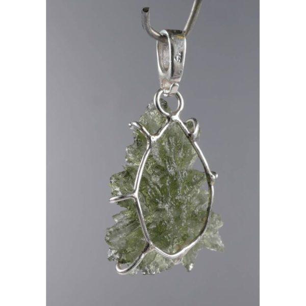 Rare Elegant Shape Besednice Moldavite In Sterling Silver Pendant (1.6grams) 2