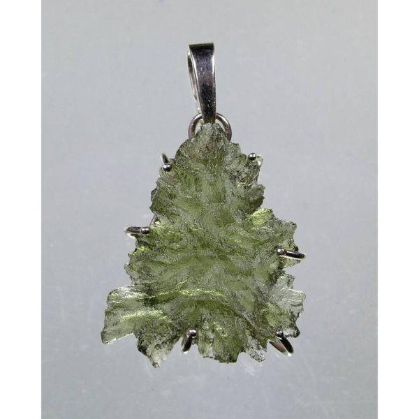 Rare Elegant Shape Besednice Moldavite In Sterling Silver Pendant (1.6grams) 3