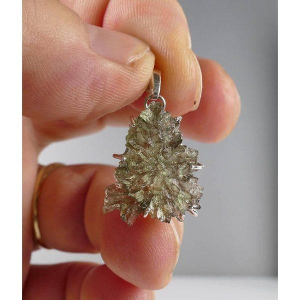 Rare Elegant Shape Besednice Moldavite In Sterling Silver Pendant (1.6grams) 4