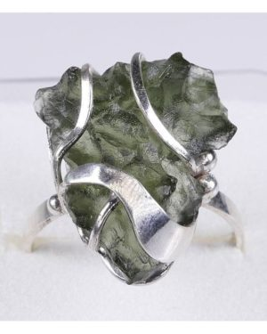 Rare Elegant Shape Moldavite In Sterling Silver Ring (3.9grams) Ring Size 58 (usa 8 12) 1
