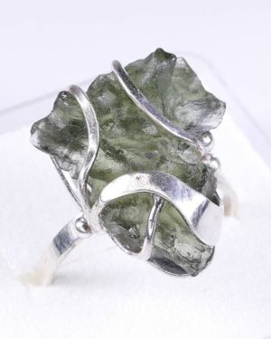 Rare Elegant Shape Moldavite In Sterling Silver Ring (3.9grams) Ring Size 58 (usa 8 12) 2