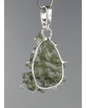 Rare Excellent Shape Besednice Moldavite In Sterling Silver Pendant (1.6grams) 2