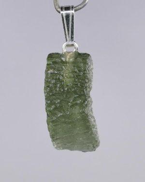 Rare Shape Moldavite In Sterling Silver Pendant (1.9grams) 1
