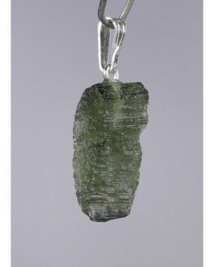 Rare Shape Moldavite In Sterling Silver Pendant (1.9grams) 2