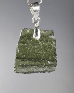 Rare Shape Moldavite In Sterling Silver Pendant (2.3grams) 1