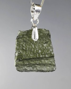 Rare Shape Moldavite In Sterling Silver Pendant (2.3grams) 2