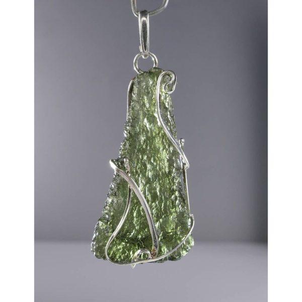 Unique Shape Moldavite In Original Design Sterling Silver Pendant (4.9grams) 1