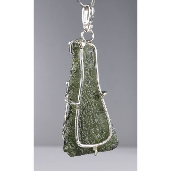 Unique Shape Moldavite In Original Design Sterling Silver Pendant (4.9grams) 2