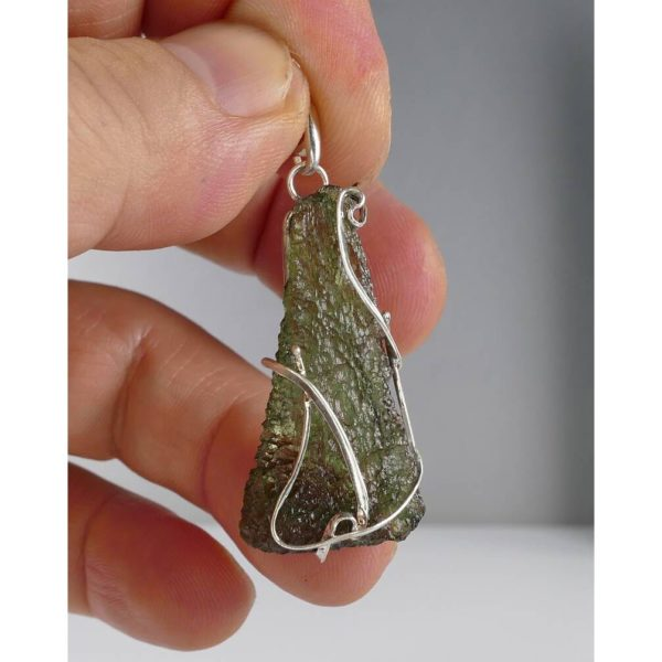 Unique Shape Moldavite In Original Design Sterling Silver Pendant (4.9grams) 3