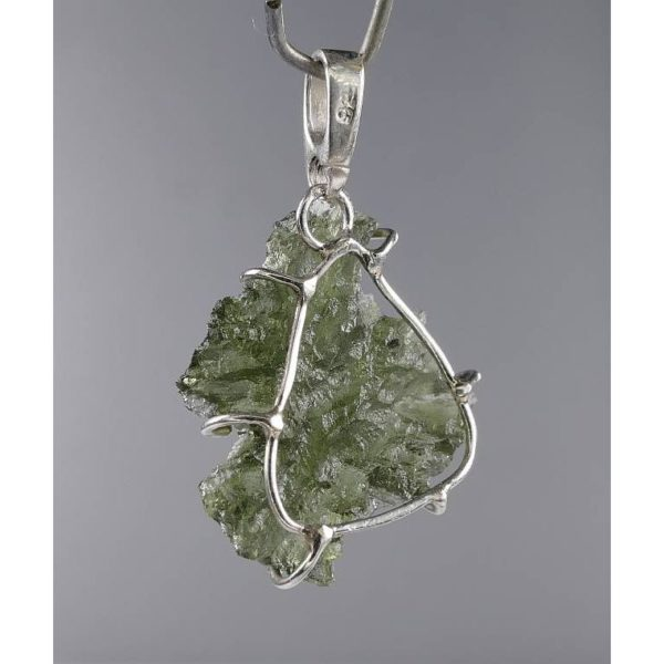 Unique And Excellent Shape Besednice Moldavite In Sterling Silver Pendant (1.6grams) 2