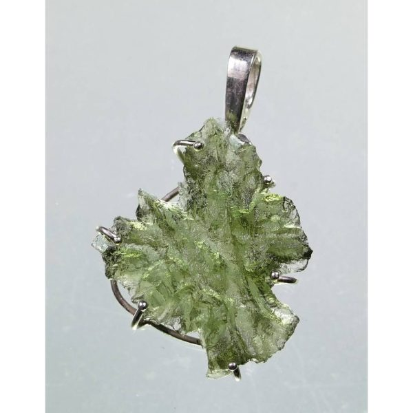 Unique And Excellent Shape Besednice Moldavite In Sterling Silver Pendant (1.6grams) 3