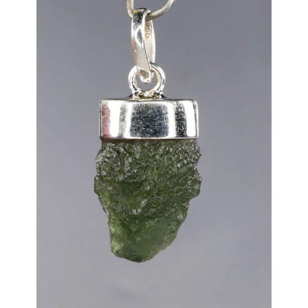 First Grade Moldavite In Sterling Silver Solid Cap Pendant (3.6grams) 2