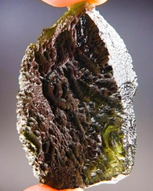 quality a+ large olive green natural piece moldavite with certificate of authenticity (30.2grams) 2
