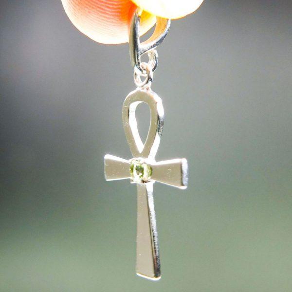 ankh silver with small moldavite pendant (2.27grams) 2