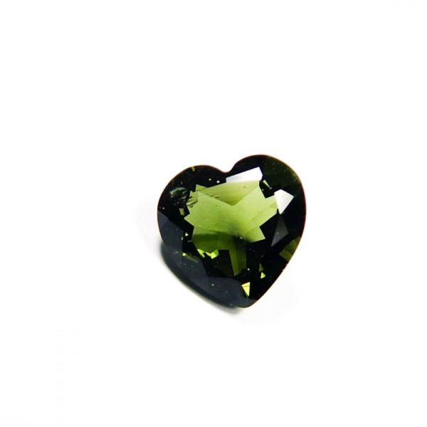 beautiful heart shape faceted moldavite with certificate of authenticity (0.965gram) 1