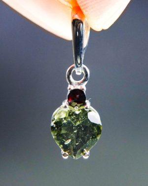 dazzling heart shape moldavite with red garnet pendant (1.34 grams) 1