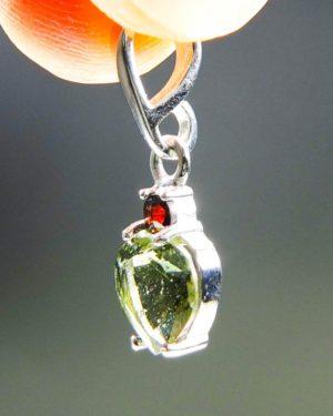 dazzling heart shape moldavite with red garnet pendant (1.34 grams) 2
