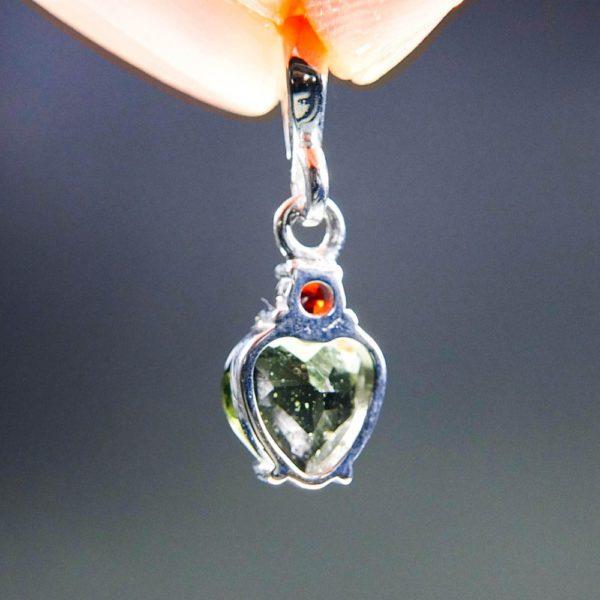 dazzling heart shape moldavite with red garnet pendant (1.34 grams) 4