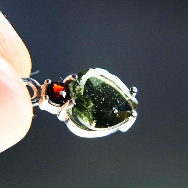 dazzling heart shape moldavite with red garnet pendant (1.34 grams) 5
