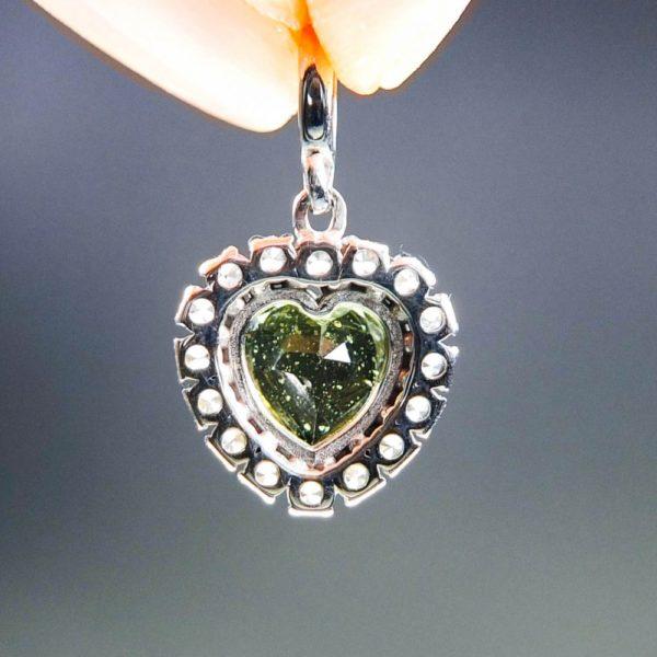 dazzling heart shape moldavite with zircons pendant (2.41grams) 4
