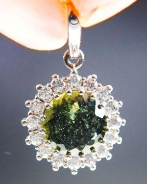 elegant standard cut moldavite with zircons pendant (2.11grams) 1