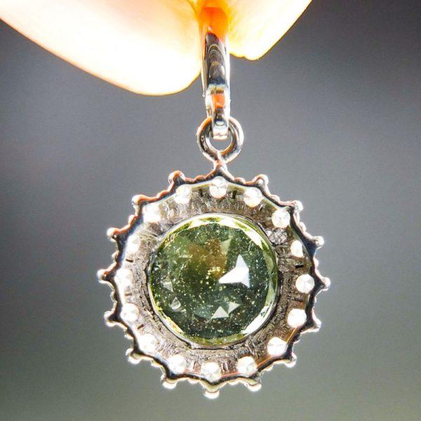 elegant standard cut moldavite with zircons pendant (2.11grams) 4
