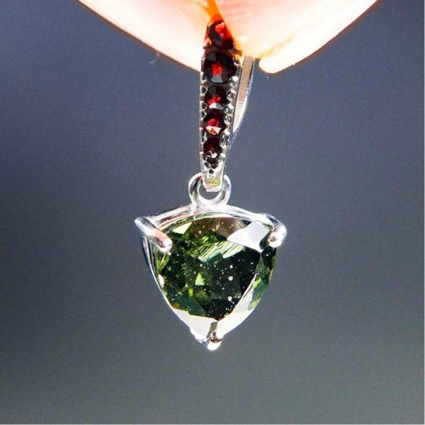 elegant triangle shape faceted moldavite with garnets pendant (1.32grams) 1