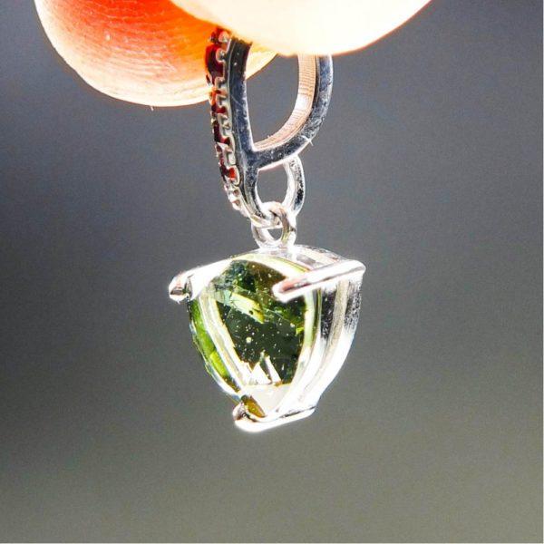 elegant triangle shape faceted moldavite with garnets pendant (1.32grams) 2