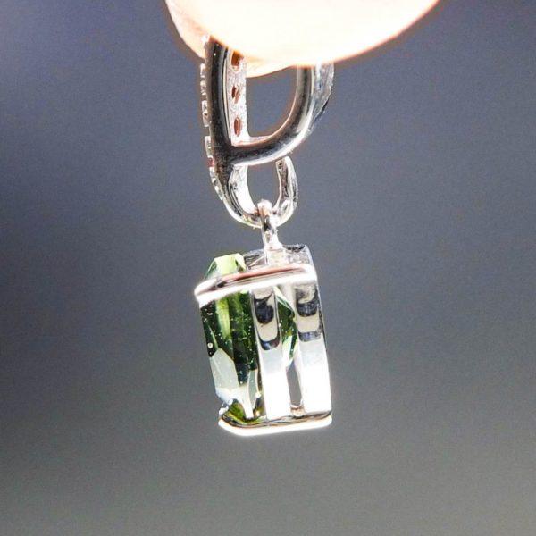 elegant triangle shape faceted moldavite with garnets pendant (1.32grams) 3