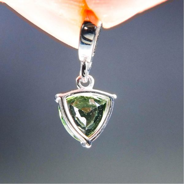 elegant triangle shape faceted moldavite with garnets pendant (1.32grams) 4