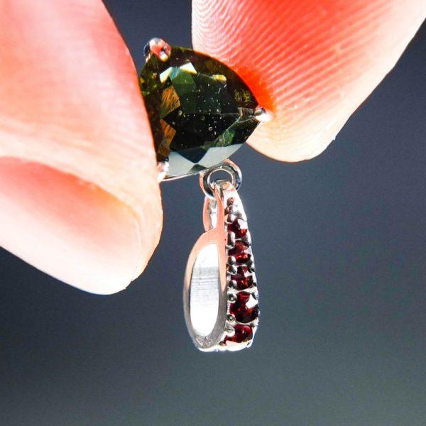 elegant triangle shape faceted moldavite with garnets pendant (1.32grams) 5