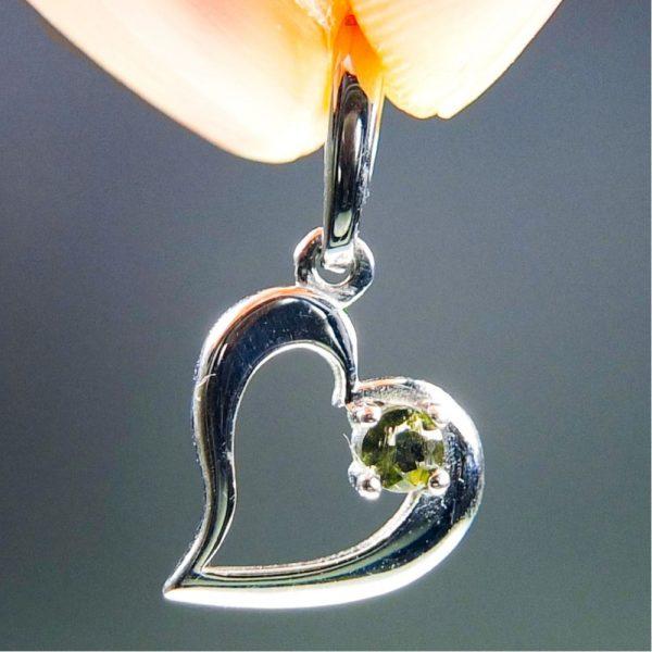 faceted moldavite in heart shape silver pendant (1.27grams) 1