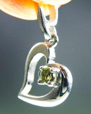 faceted moldavite in heart shape silver pendant (1.27grams) 2