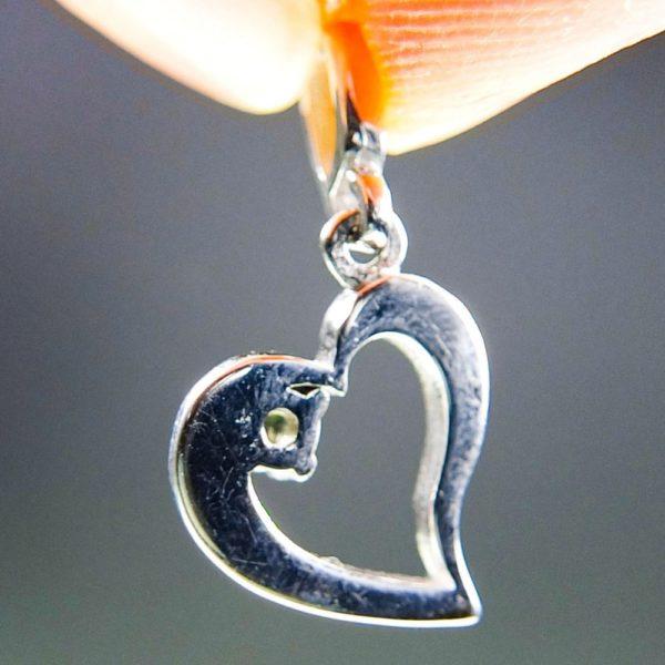 faceted moldavite in heart shape silver pendant (1.27grams) 4