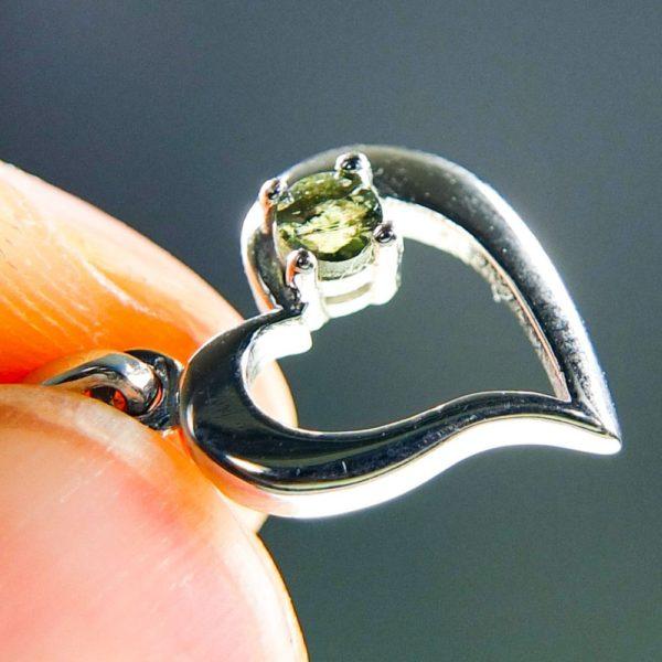 faceted moldavite in heart shape silver pendant (1.27grams) 5