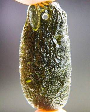glossy drilled moldavite pendant (9.71grams) 1