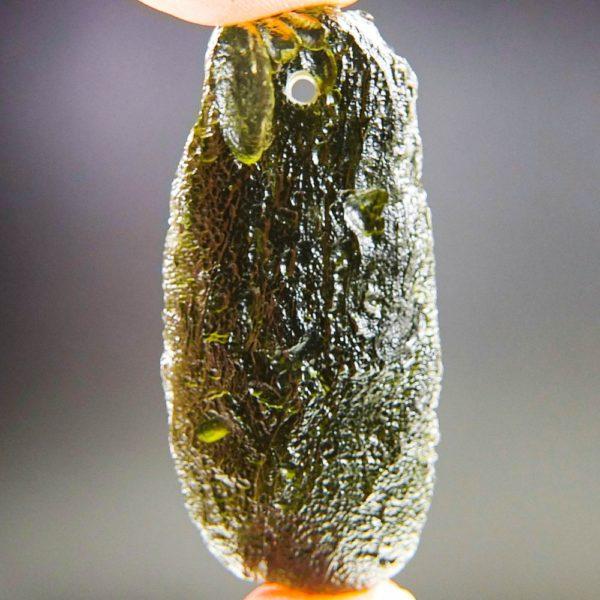 glossy drilled moldavite pendant (9.71grams) 1