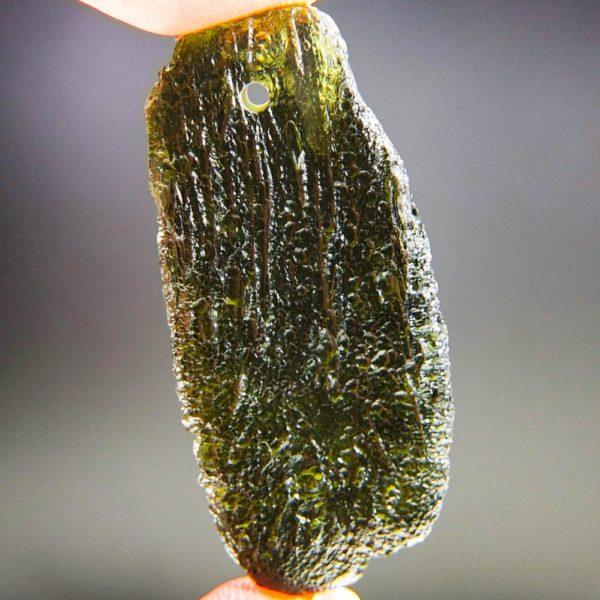 glossy drilled moldavite pendant (9.71grams) 4