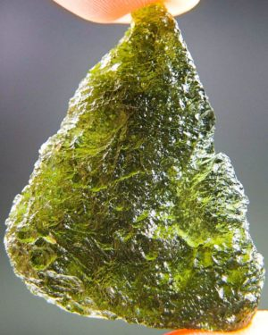 glossy olive green moldavite with certificate of authenticity (9.48grams) 1