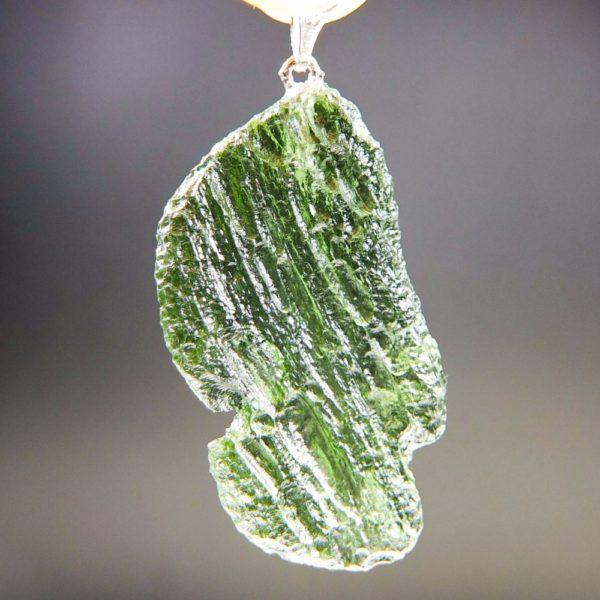 glossy vibrant green moldavite pendant (6.95grams) 4