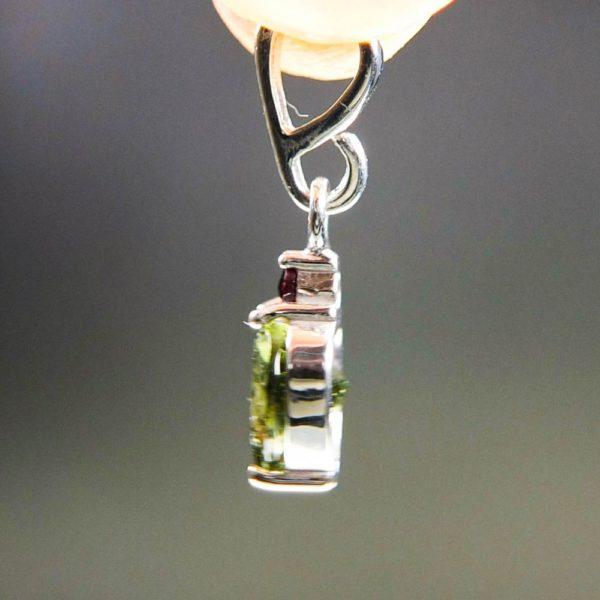 heart shape faceted moldavite and garnet pendant (1.34grams) 3