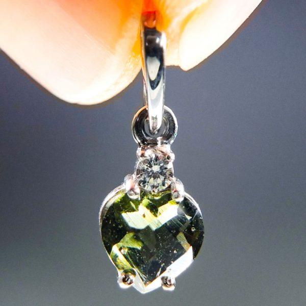heart shape faceted moldavite and zircon pendant (0.9grams) 1