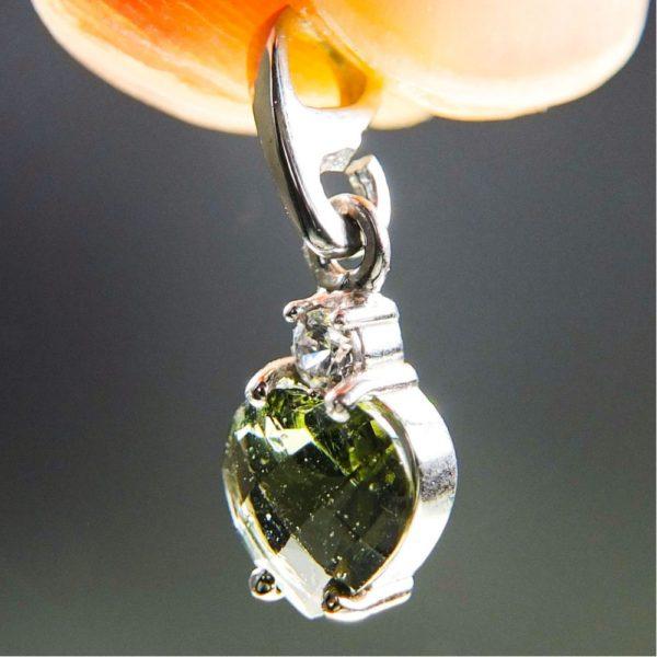 heart shape faceted moldavite and zircon pendant (0.9grams) 2