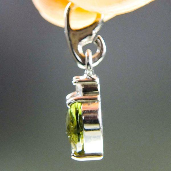 heart shape faceted moldavite and zircon pendant (0.9grams) 3