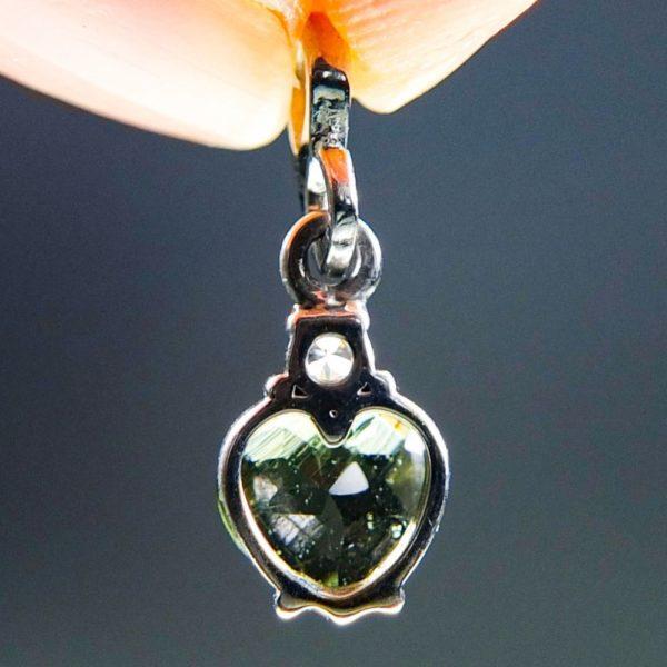 heart shape faceted moldavite and zircon pendant (0.9grams) 4